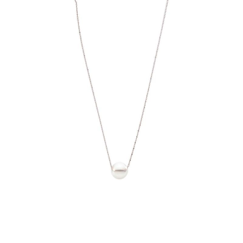 Κολιέ με λευκό μαργαριτάρι και ασημένια αλυσίδα 925 - M121225W