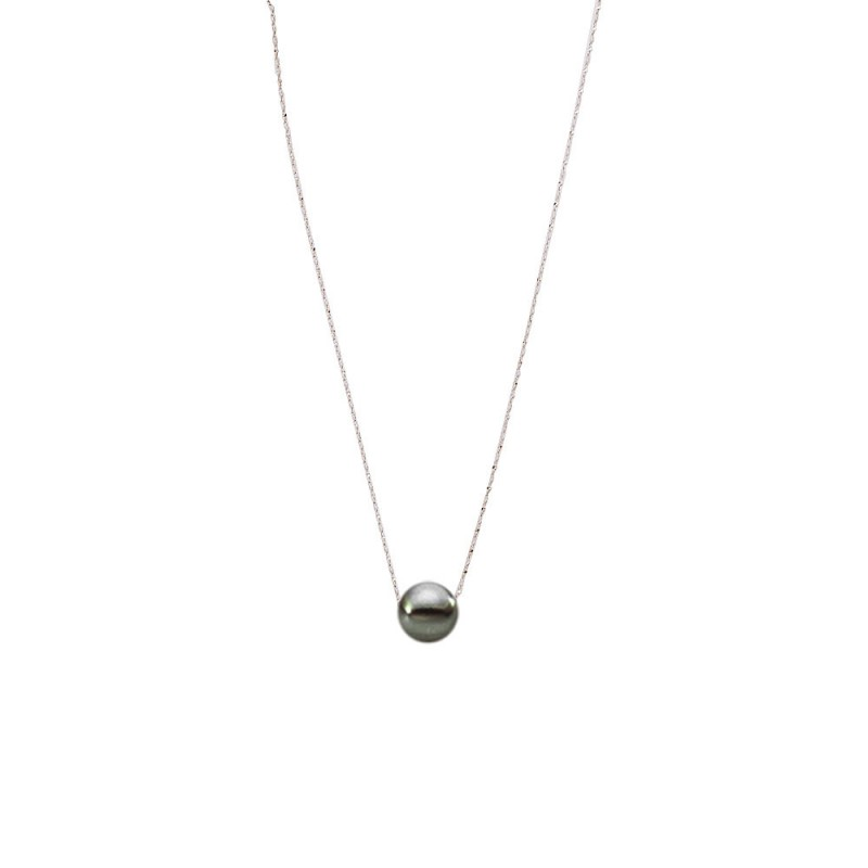 Κολιέ με μαύρο μαργαριτάρι και ασημένια αλυσίδα 925 - M121225Z