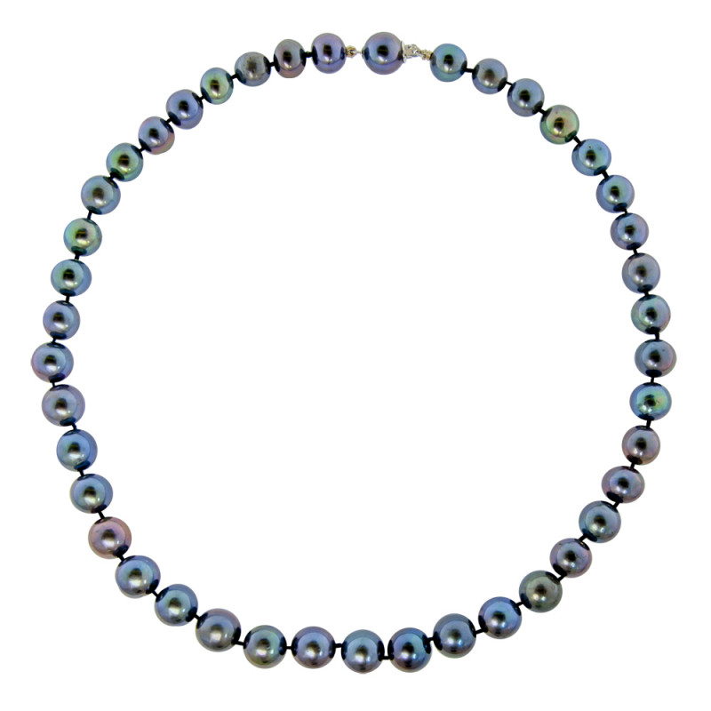 Κολιέ με μαύρα μαργαριτάρια και χρυσά στοιχεία 18K - M121248