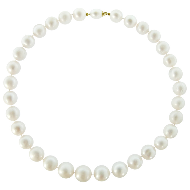 Κολιέ με λευκά μαργαριτάρια και χρυσά στοιχεία 18K - M121267