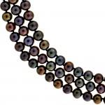 Κολιέ με μαύρα μαργαριτάρια και λευκόχρυσο κούμπωμα Κ14 - M121357