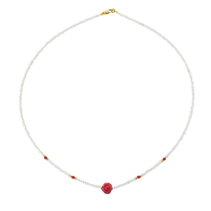 Κολιέ με λευκά μαργαριτάρια, κοράλλια και χρυσό κούμπωμα Κ14 - M121374A