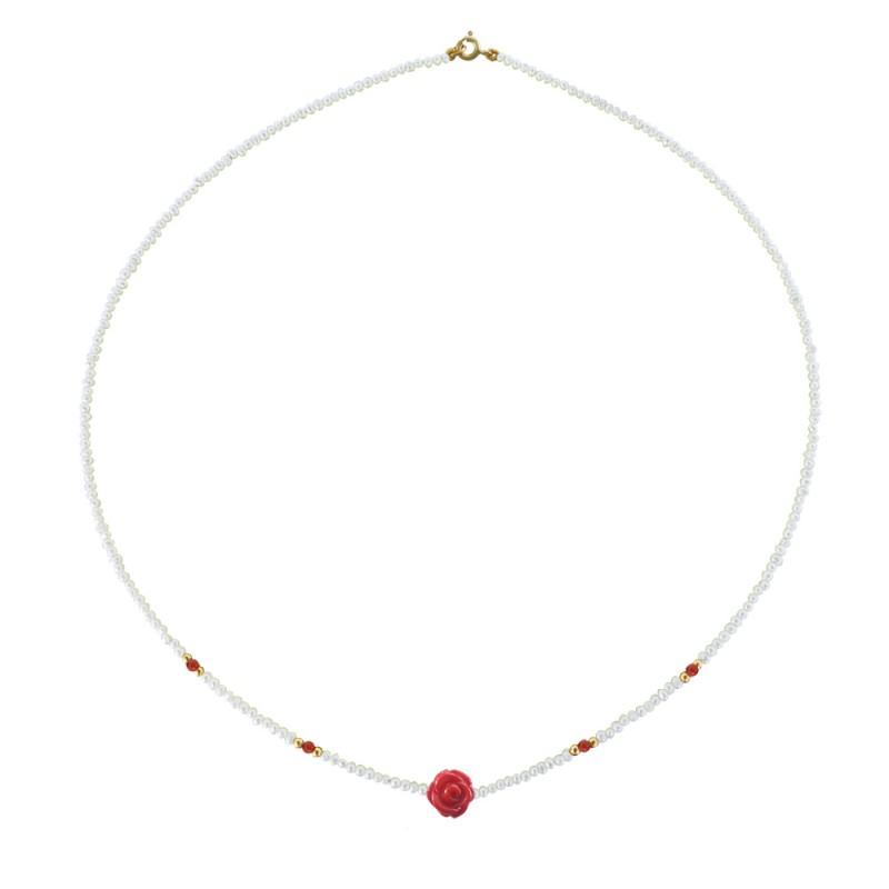 Κολιέ με λευκά μαργαριτάρια, κοράλλια και χρυσό κούμπωμα Κ14 - M121374