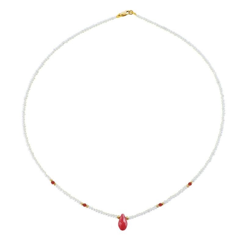 Κολιέ με λευκά μαργαριτάρια, κοράλλια και χρυσό κούμπωμα K14 - M121375A