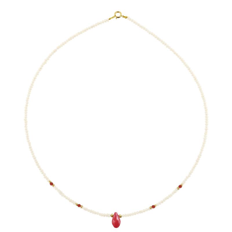 Κολιέ με λευκά μαργαριτάρια, κοράλλια και χρυσό κούμπωμα K14 - M121375