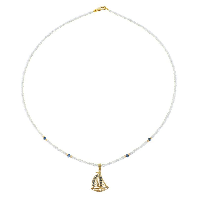 Κολιέ με λευκά μαργαριτάρια, ζαφείρια και χρυσό μενταγιόν 18Κ - M121390