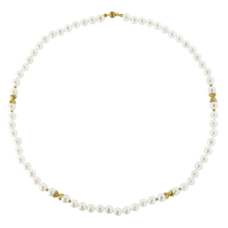 Κολιέ με λευκά μαργαριτάρια και χρυσά στοιχεία 14K - M121391