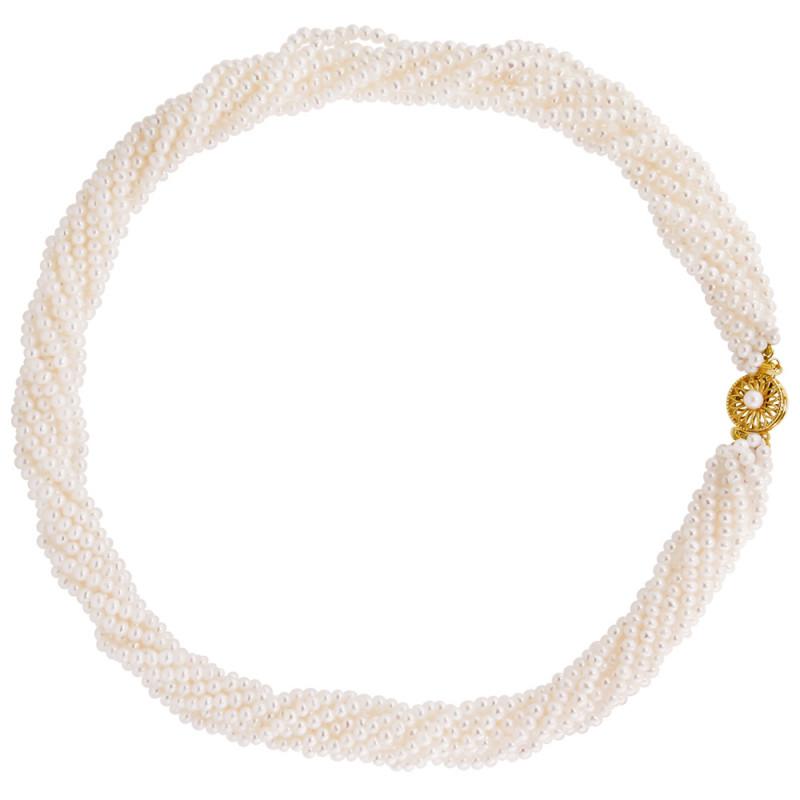 Κολιέ με λευκά μαργαριτάρια και χρυσό κούμπωμα 14K - M121670