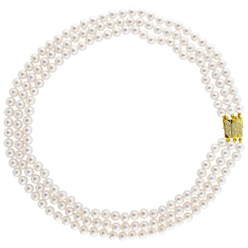 Κολιέ με λευκά μαργαριτάρια και χρυσό κούμπωμα K18 με διαμάντια - M121741