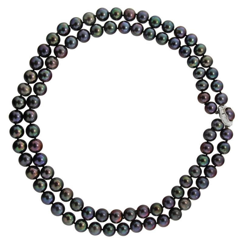 Κολιέ με μαύρα μαργαριτάρια και λευκόχρυσο κούμπωμα 18K - M121761