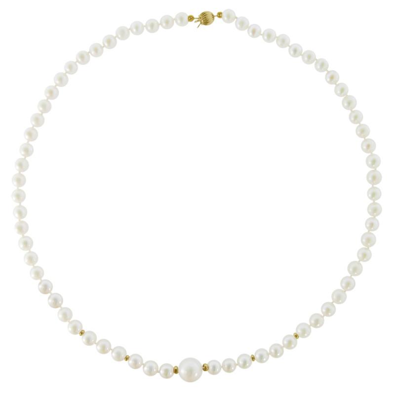 Κολιέ με λευκά μαργαριτάρια και χρυσά στοιχεία 14K - M122006