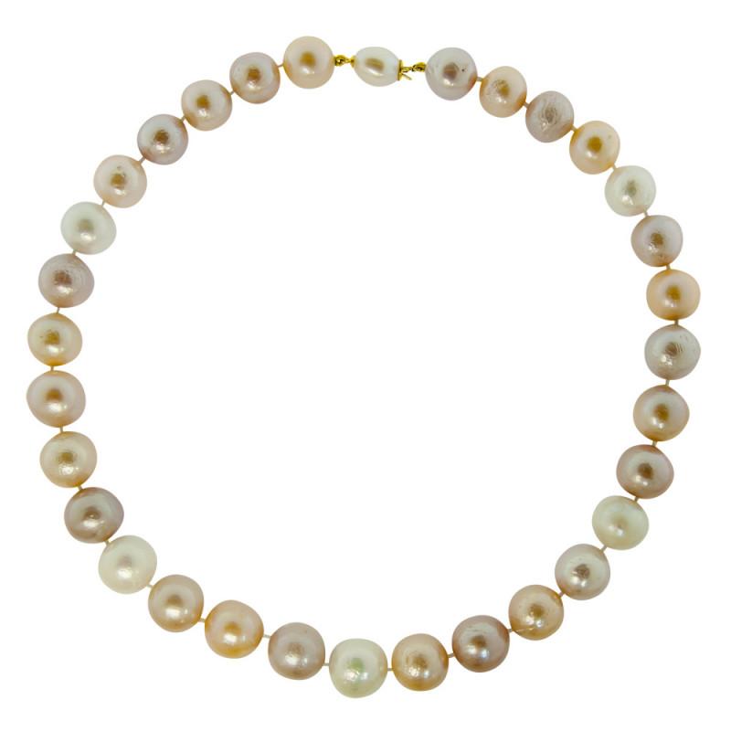 Κολιέ με πολύχρωμα μαργαριτάρια και χρυσά στοιχεία 18K - M122031