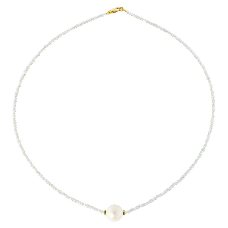 Κολιέ με μαργαριτάρια και χρυσό κούμπωμα K14 - M122033
