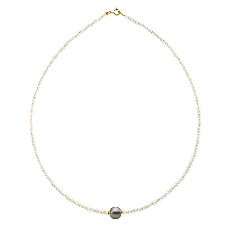 Κολιέ με μαργαριτάρια και χρυσό κούμπωμα K14 - M122033B