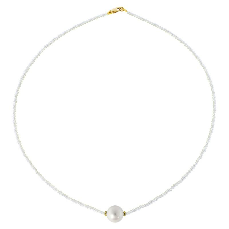 Κολιέ με μαργαριτάρια και χρυσό κούμπωμα K14 - M122033G