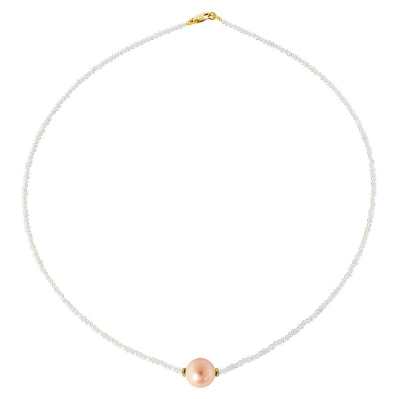 Κολιέ με μαργαριτάρια και χρυσό κούμπωμα K14 - M122033S