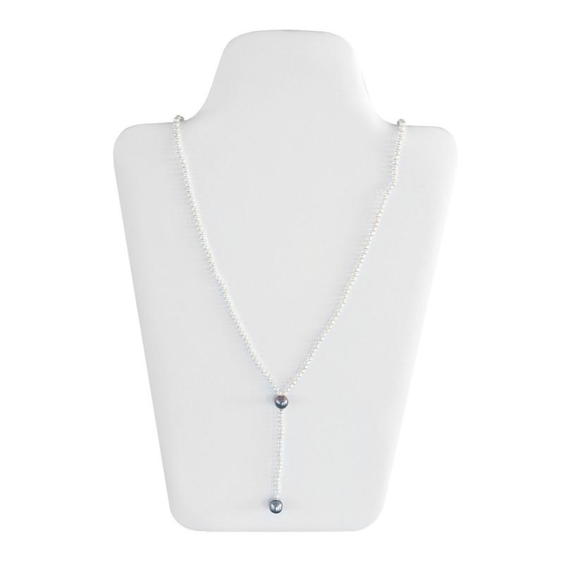 Κολιέ με λευκά και μαύρα μαργαριτάρια Fresh Water Pearl - M122037