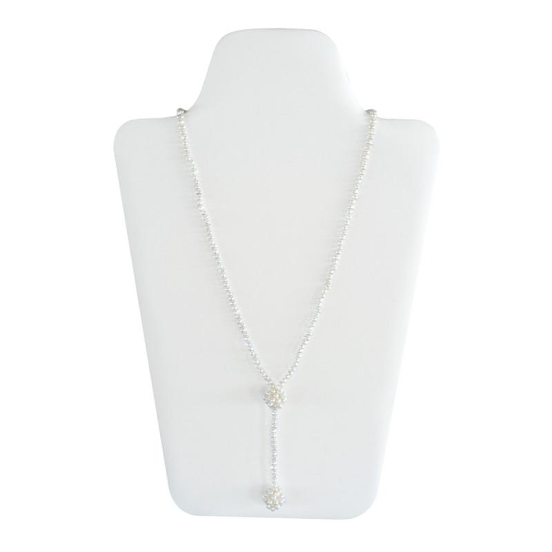 Κολιέ με λευκά μαργαριτάρια Fresh Water Pearl - M122037A