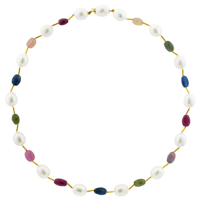 Κολιέ με λευκά μαργαριτάρια, πολύχρωμα ζαφείρια και χρυσά στοιχεία Κ22 - M122116