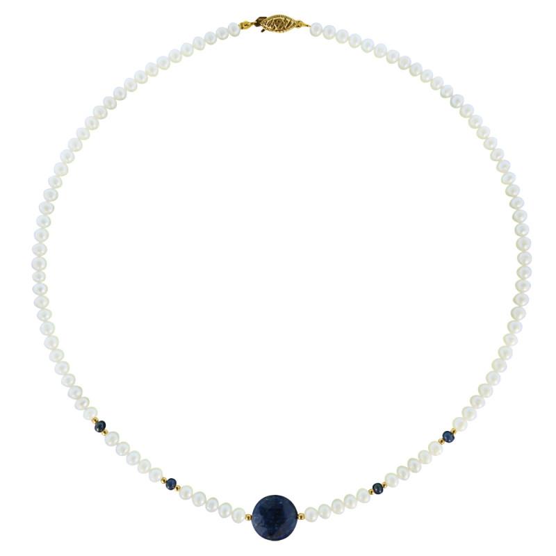 Κολιέ με λευκά μαργαριτάρια, ζαφείρια και χρυσά στοιχεία 14K - M122166S