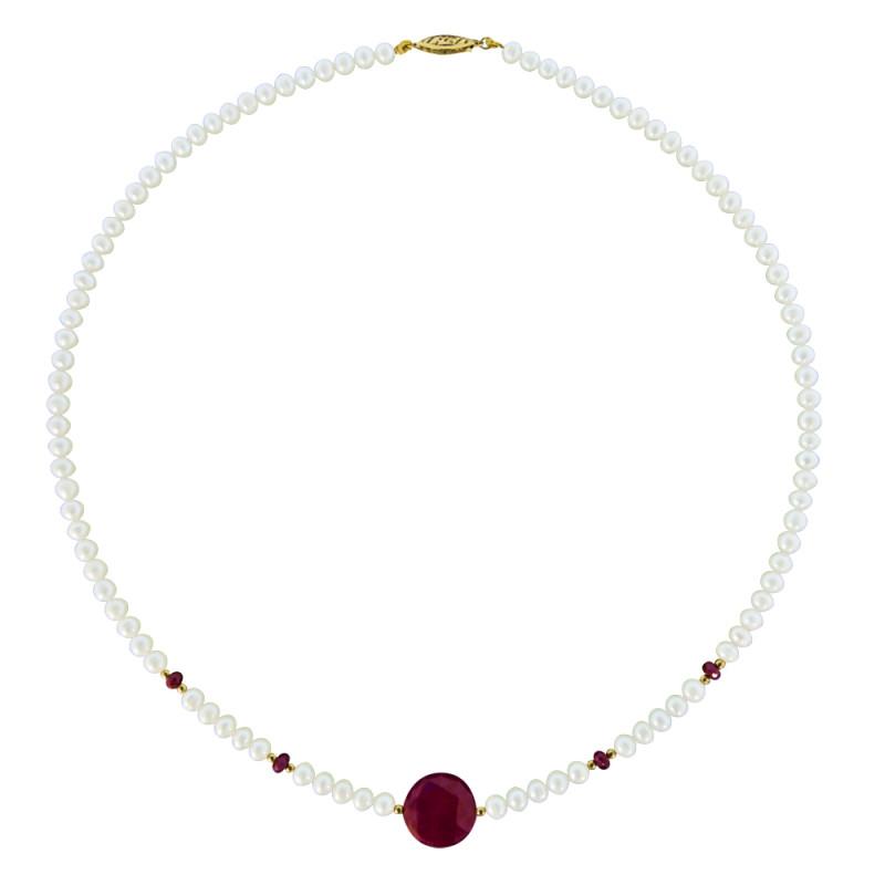 Κολιέ με λευκά μαργαριτάρια, ρουμπίνια και χρυσά στοιχεία 14K - M122166R