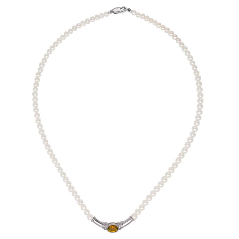 Κολιέ με μαργαριτάρια, citrine και ασήμι 925 - M122170C