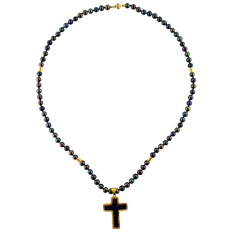 Κολιέ με μαύρα μαργαριτάρια και χρυσό σταυρό K14 - M122207