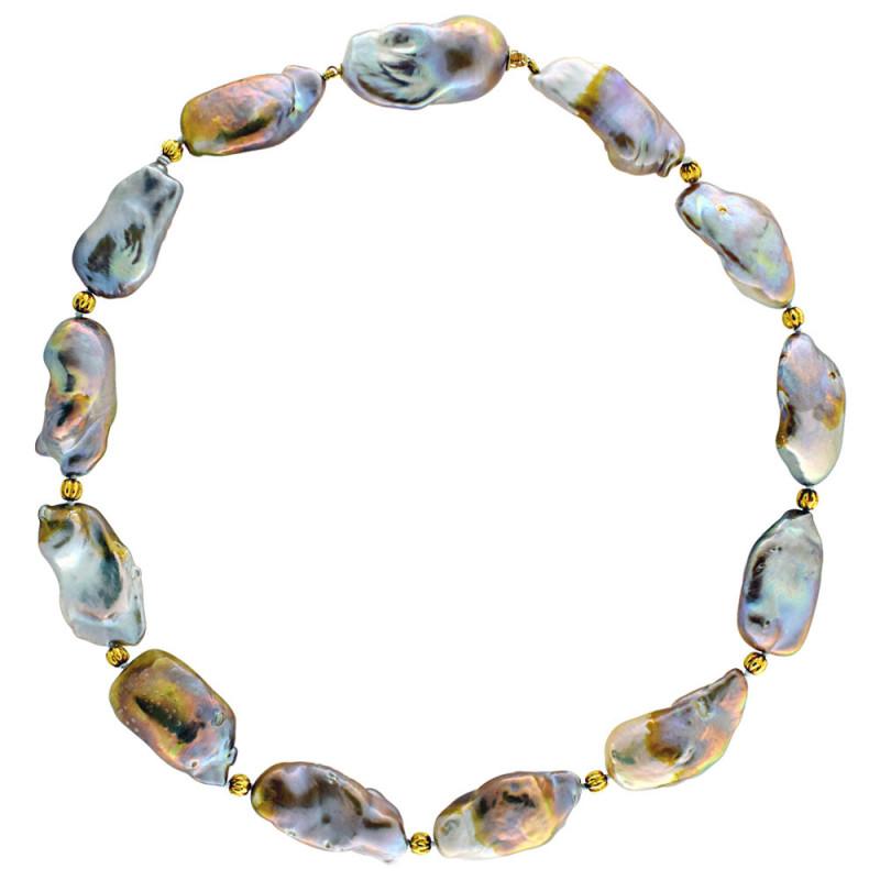 Κολιέ με πολύχρωμα μαργαριτάρια και χρυσά στοιχεία Κ18 - M122250