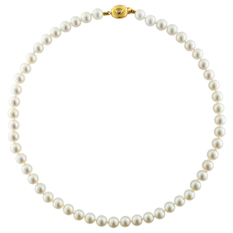 Κολιέ με μαργαριτάρια Akoya και χρυσό κούμπωμα K18 - M122296