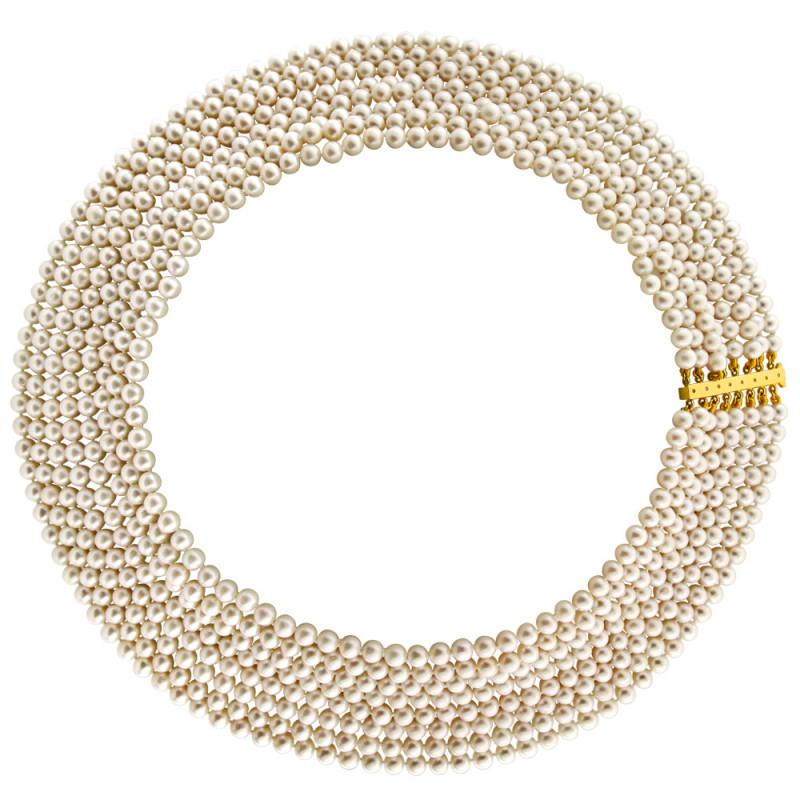 Κολιέ με μαργαριτάρια 5,0-5,5mm και χρυσό κούμπωμα K18 - M122340