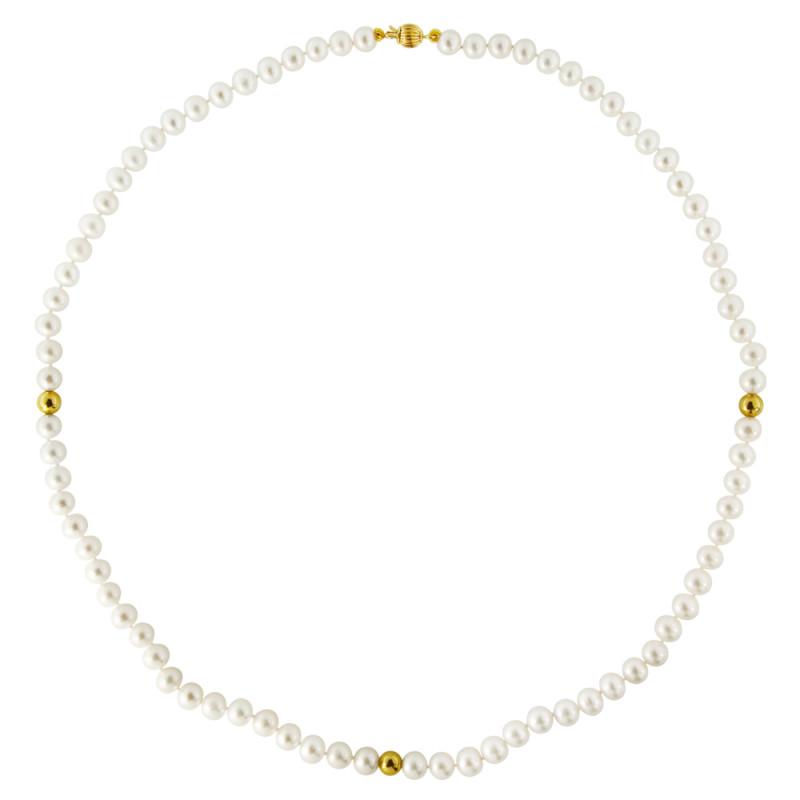 Κολιέ με λευκά μαργαριτάρια και χρυσά στοιχεία 14K - M122346