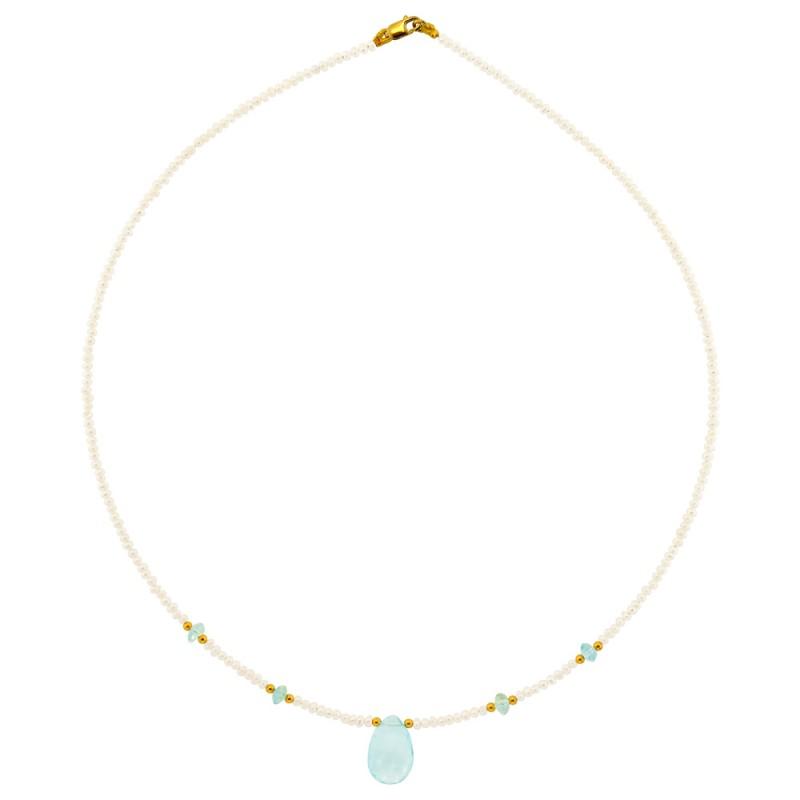 Κολιέ με λευκά μαργαριτάρια, ακουαμαρίνα και χρυσό κούμπωμα Κ14 - M122347A