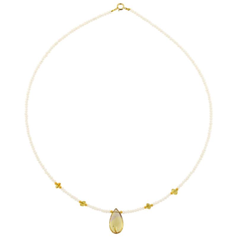 Κολιέ με λευκά μαργαριτάρια, ametrine και χρυσό κούμπωμα Κ14 - M122347AT