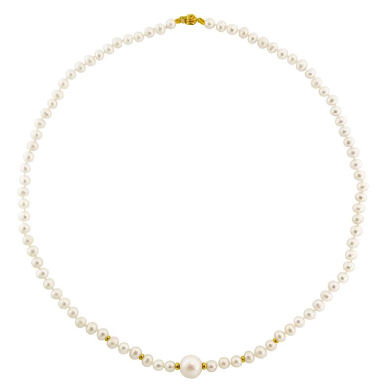 Κολιέ με λευκά μαργαριτάρια και χρυσά στοιχεία Κ14 - M122352