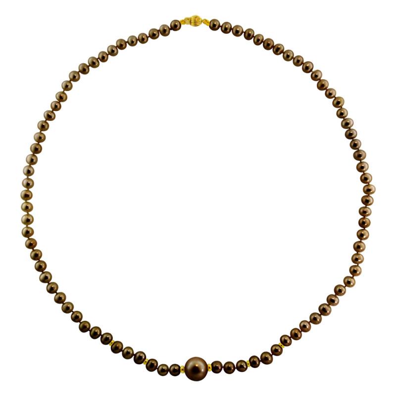 Κολιέ με μαύρα μαργαριτάρια και χρυσά στοιχεία Κ14 - M122352B