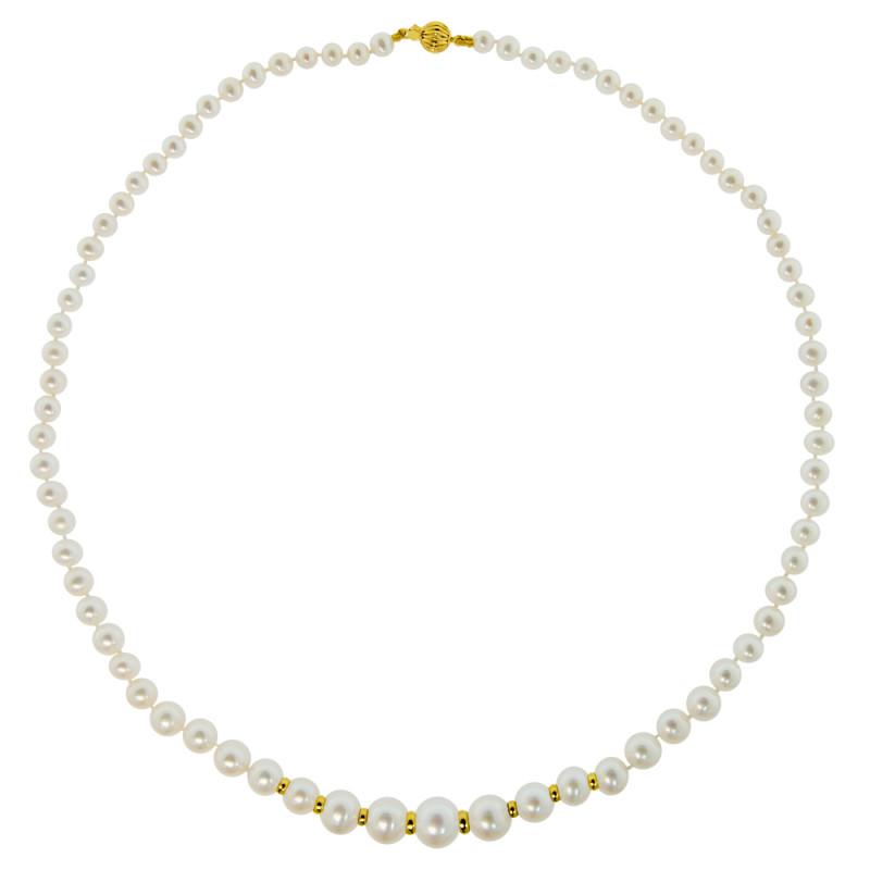 Κολιέ με λευκά μαργαριτάρια και χρυσά στοιχεία Κ14 - M122365