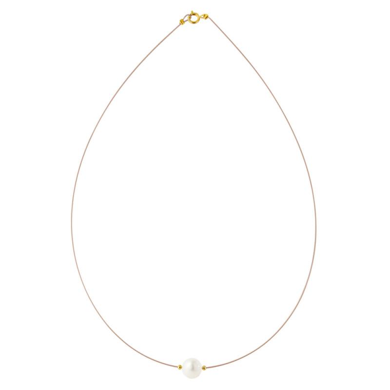 Κολιέ με λευκό μαργαριτάρι και χρυσά στοιχεία K14 - M122367B
