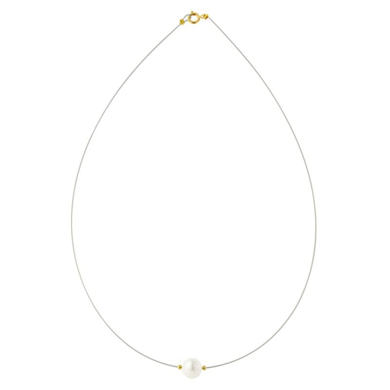 Κολιέ με λευκό μαργαριτάρι και χρυσά στοιχεία K14 - M122367G