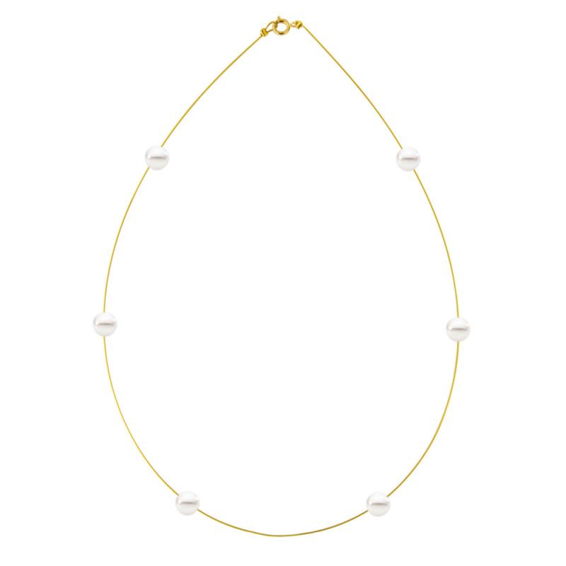 Κολιέ με λευκά μαργαριτάρια και χρυσό κούμπωμα K14 - M122722