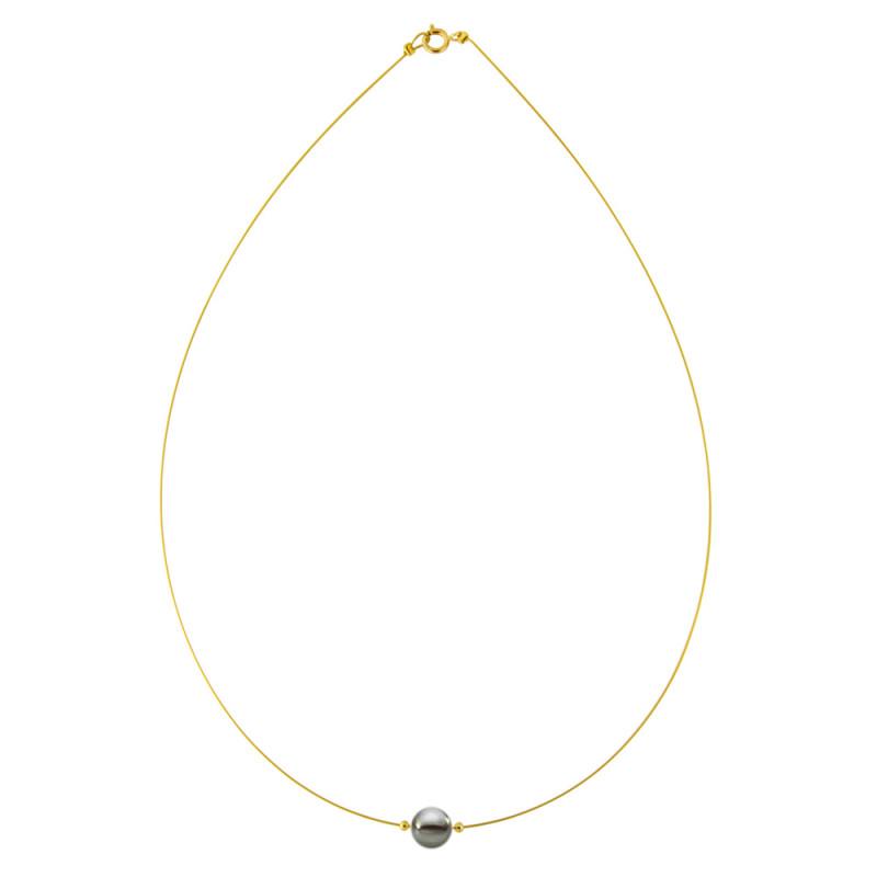 Κολιέ με μαύρο μαργαριτάρι και χρυσά στοιχεία K14 - M122367YB