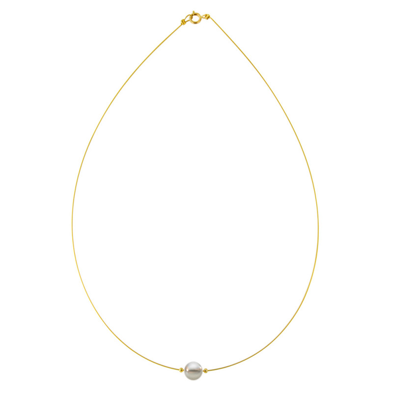Κολιέ με γκρι μαργαριτάρι και χρυσά στοιχεία K14 - M122367YG