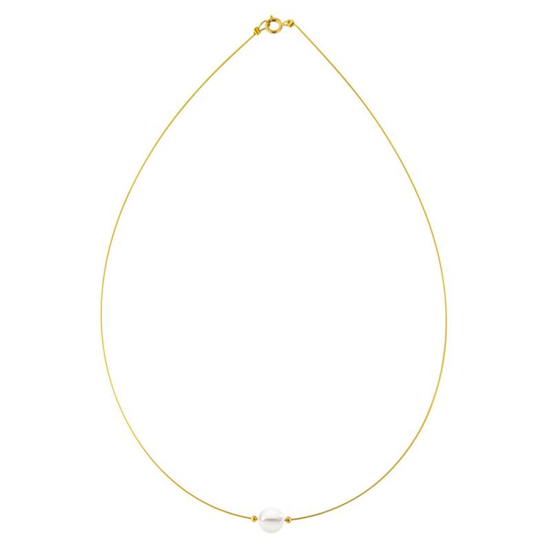 Κολιέ με λευκό μαργαριτάρι και χρυσά στοιχεία K14 - M122367