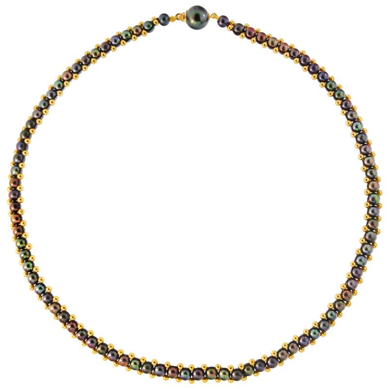 Κολιέ με μαύρα μαργαριτάρια και χρυσά στοιχεία 14K - M122412