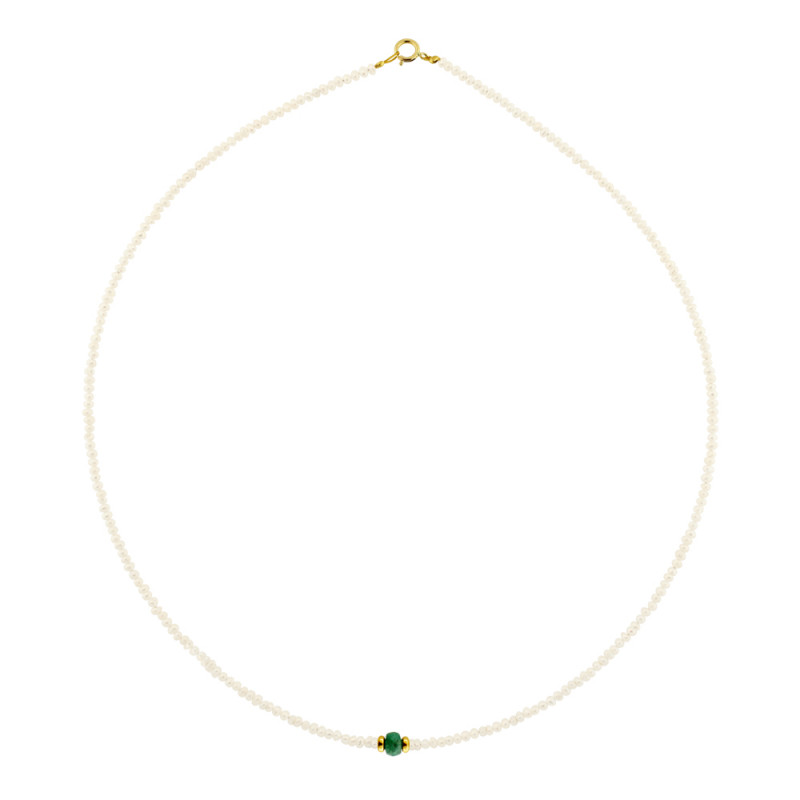 Κολιέ με μαργαριτάρια, σμαράγδι και χρυσά στοιχεία Κ14 - M122429E