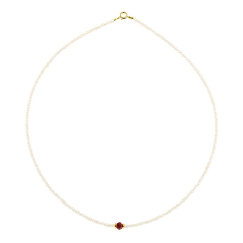 Κολιέ με μαργαριτάρια, ρουμπίνι και χρυσά στοιχεία Κ14 - M122429R