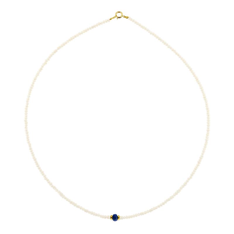 Κολιέ με μαργαριτάρια, ζαφείρι και χρυσά στοιχεία Κ14 - M122429S