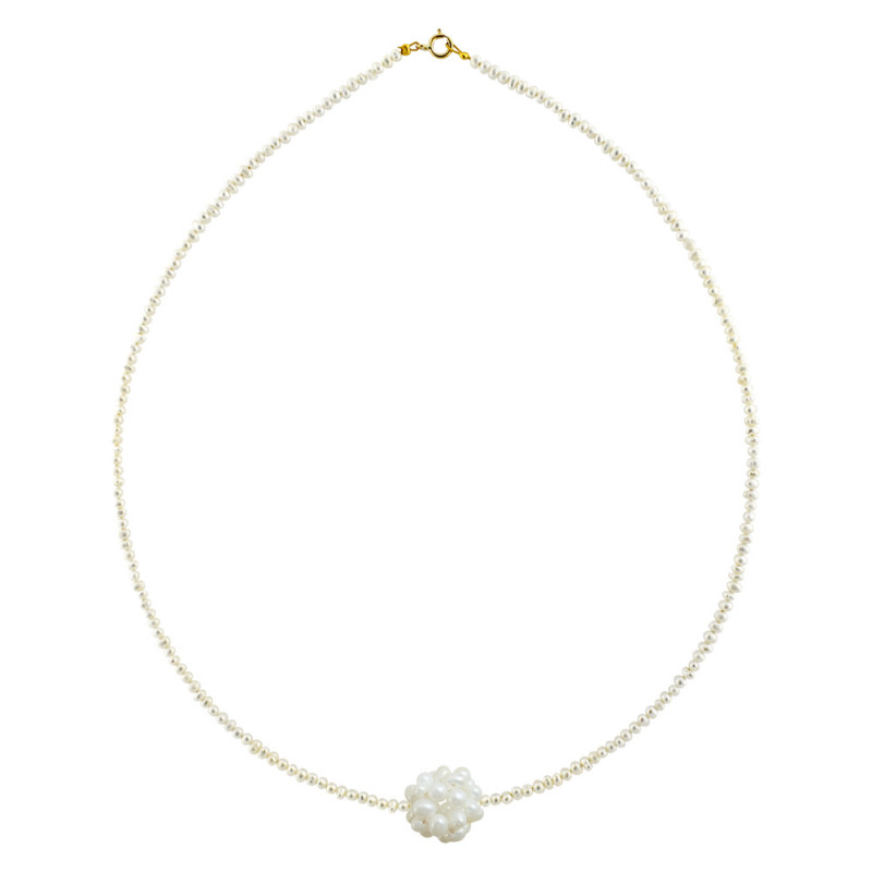Κολιέ με μαργαριτάρια και χρυσό κούμπωμα Κ14 - M122462