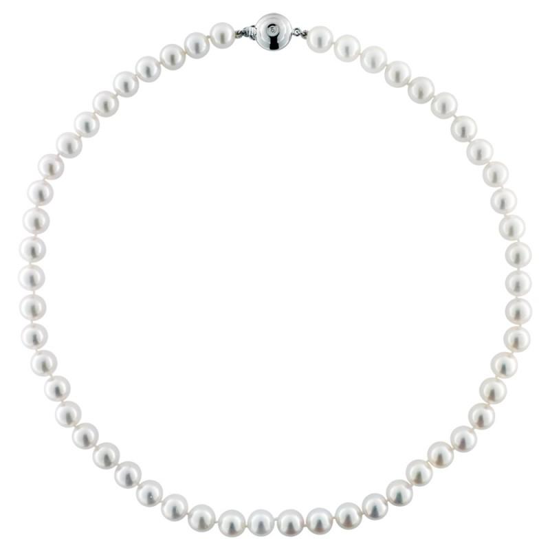 Κολιέ με λευκά μαργαριτάρια και λευκόχρυσο κούμπωμα K18 - M122465