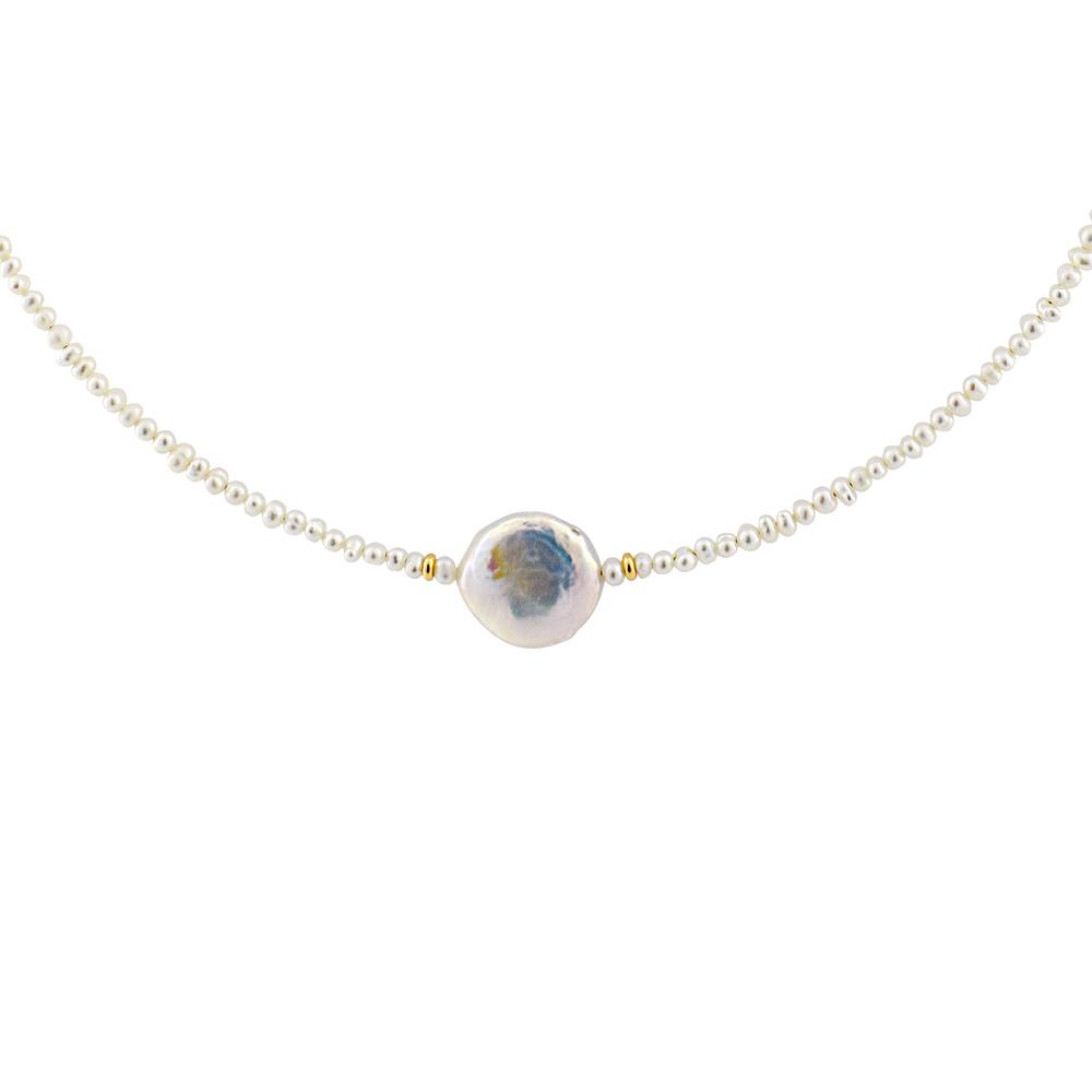 Κολιέ με λευκά μαργαριτάρια και χρυσά στοιχεία Κ14 - M122474 25af8df08e9