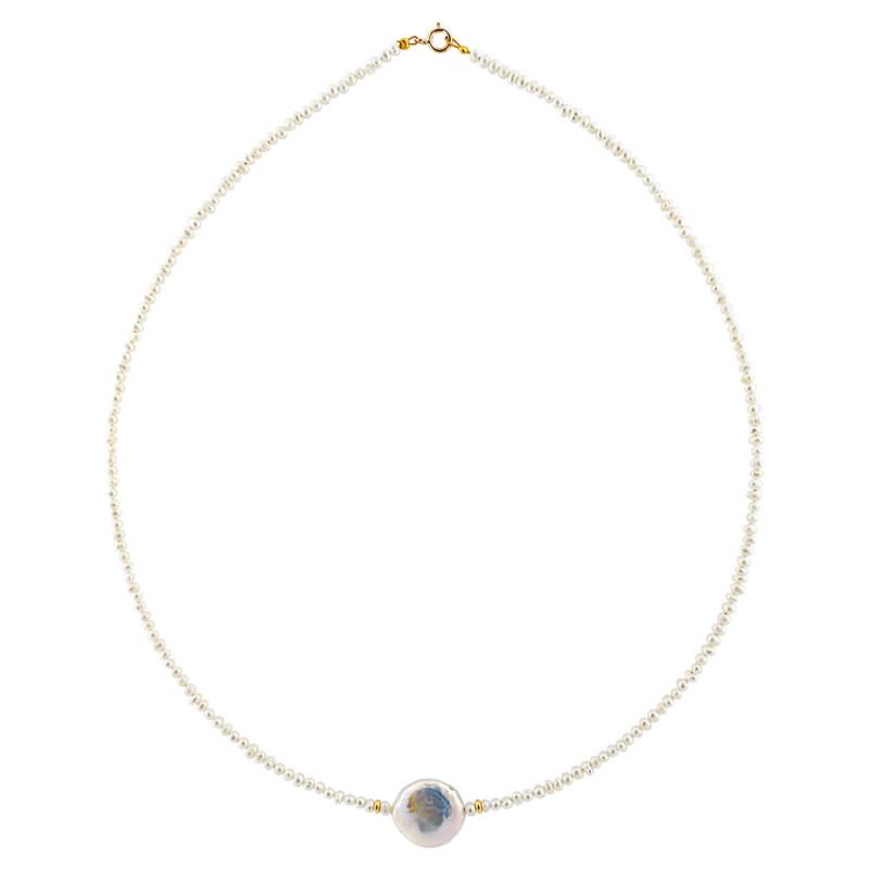 Κολιέ με λευκά μαργαριτάρια και χρυσά στοιχεία Κ14 - M122474